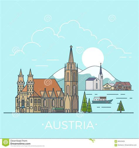 design a dream vacation webquest world travel in austria linear flat vector design stock