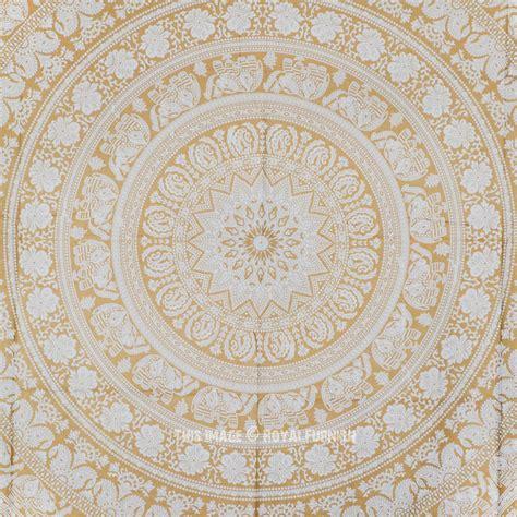 gold white elephants medallion mandala tapestry royalfurnishcom