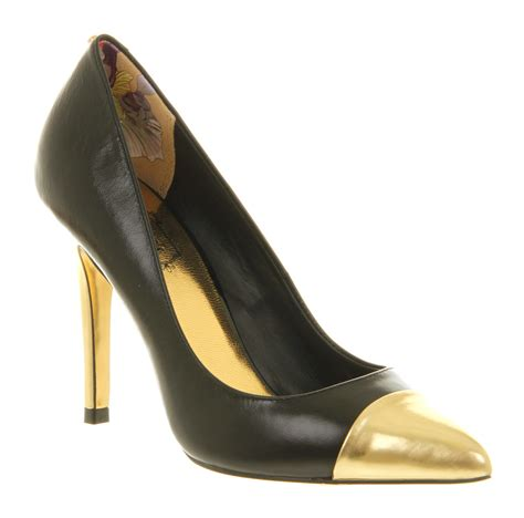metallic gold high heels ted baker saysa high heel court shoe black gold metallic