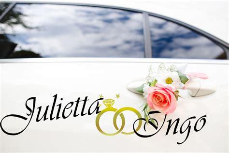 Aufkleber Ringe Hochzeit by Aufkleber Hochzeit Auto Namen Mit Ringe In Gold
