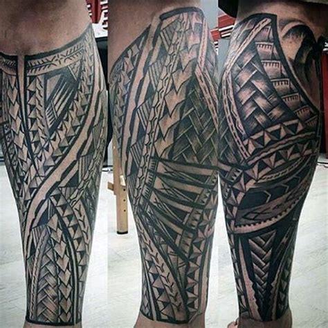 tribal tattoos leg sleeve mens polynesian shaded black and grey leg sleeve