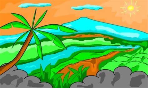 gambar pemandangan alam di desa yang indah kumpulan gambar animasi bergerak gif