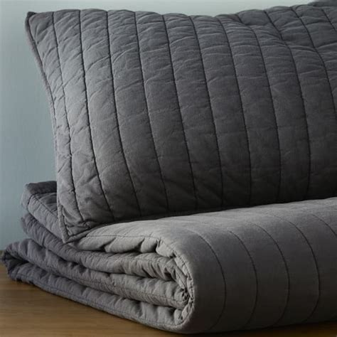 Channel Stitch Coverlet West Elm by Washed Channel Stitch Quilt Carbon West Elm