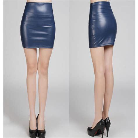 navy fashion pu faux leather skirt bodycon high waist