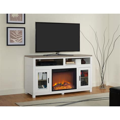 Ameriwood Carver White Electric Fireplace 60 In Tv Stand White Fireplace Tv Stand