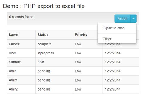 Mysql Create Table Exle by Exporting Data To Excel With Php And Mysql Phpflow