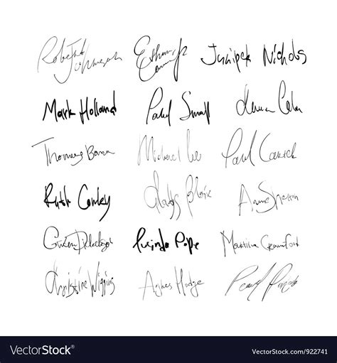 Signature Set Free by Abstract Signature Set Royalty Free Vector Image