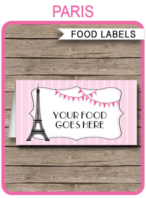 paris party food labels template place cards editable
