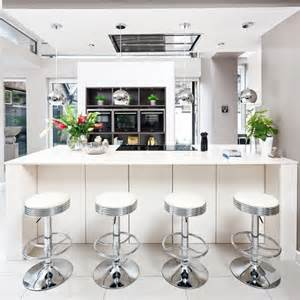white kitchen with silver bar stools decorating with white housetohome co uk