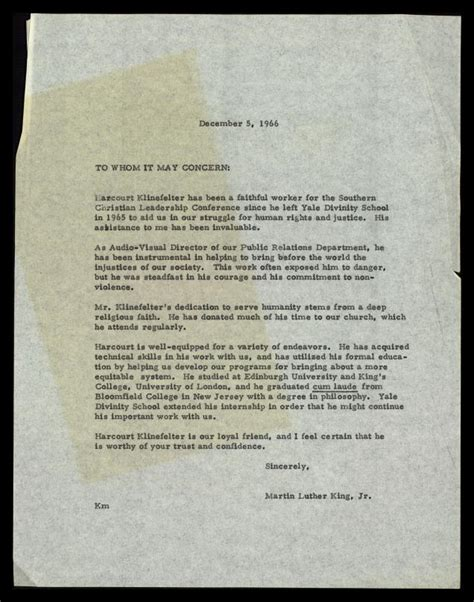 Recommendation Letter Signature Recommendation Letter From Mlk For Harcourt Klinefelter The Martin