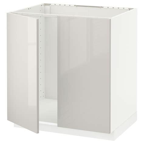 Metod Base Cabinet For Sink 2 Doors White Ringhult Light Ikea Cabinet Light