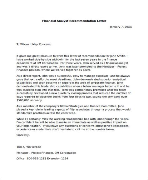 Letter Of Recommendation Finance Sle Recommendation Letters For Employment 12 Documents In Word
