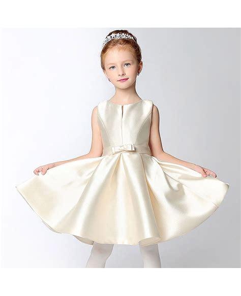 simple satin short champagne flower girl dress  bow