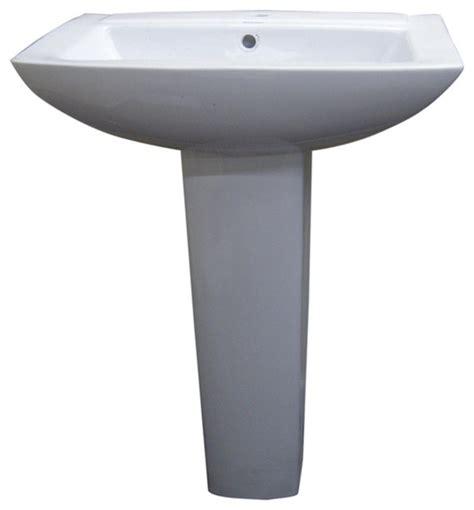 Wide Pedestal Sink Modern Square White Single Holle Ceramic Pedestal Sink