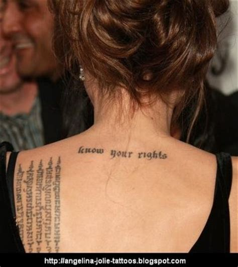tattoo meaning angelina jolie angelina jolie tattoo meaning quot know your rights font