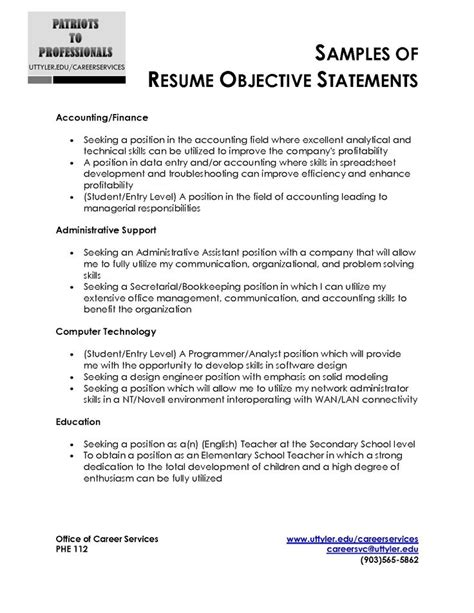 resume career objective statements resume exles objective statement for exle inside