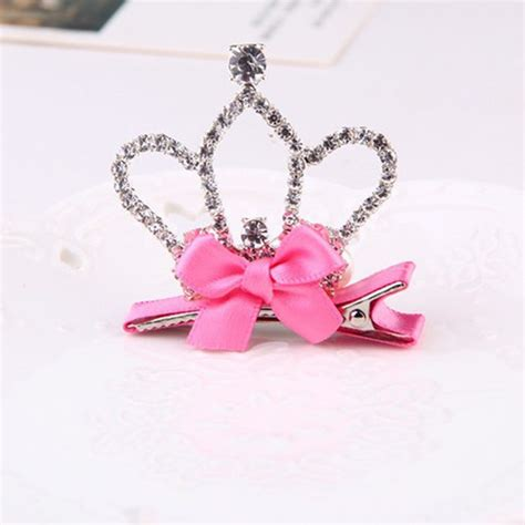 Rhinestone Crown Hair Clip baby rhinestone bowknot crown hair clip hair