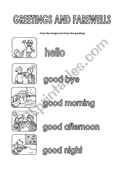greetings worksheets for greetings and farewells esl worksheet by mafecilla2107