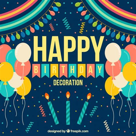 design happy birthday photo happy birthday decoration in flat design vector free