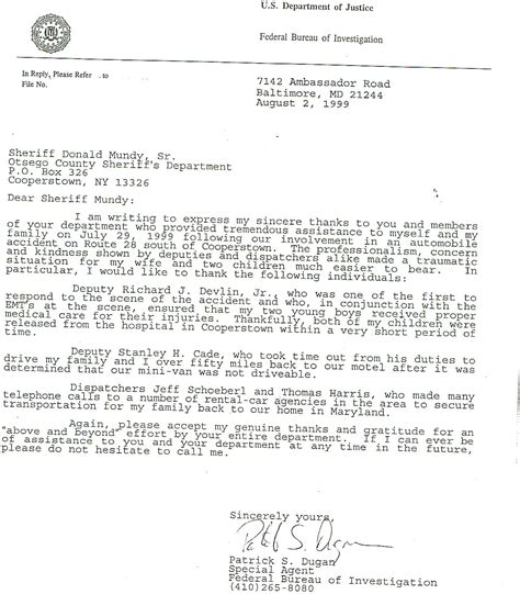 Enforcement Thank You Letter Elect Rich Devlin Jr For Otsego County Sheriff 2006