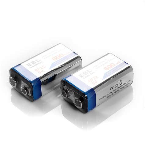 le 9v usa 2 pack 600mah 9v li ion rechargeab le batteries 9