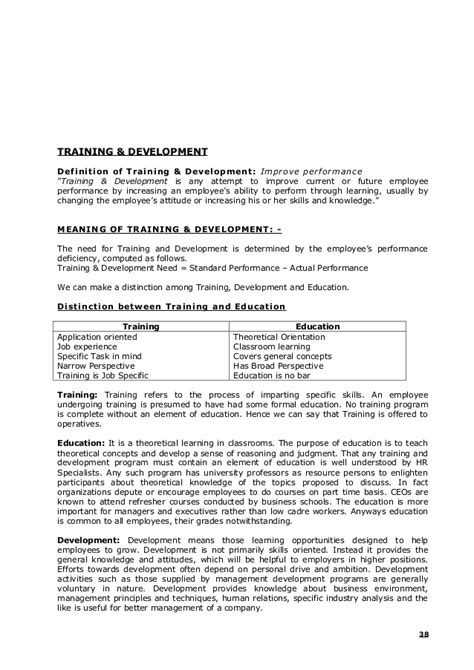 And Development In Hrm Mba Notes by 135988925 Human Resource Management Notes Mba