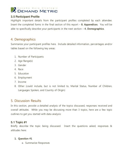 focus discussion report template focus discussion report template 4 professional