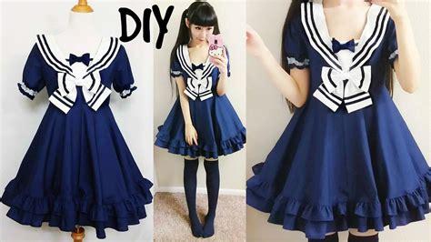 diy easy navy sailor dress short sleeves step  step