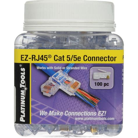Connector Rj45 Cat 5e Original Usa platinum tools ez rj45 cat5 5e connectors jar 100