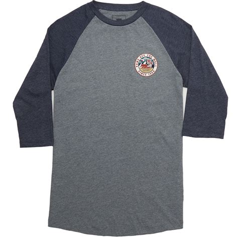 Kaos Vans Raglan vans patch raglan t shirt grey navy
