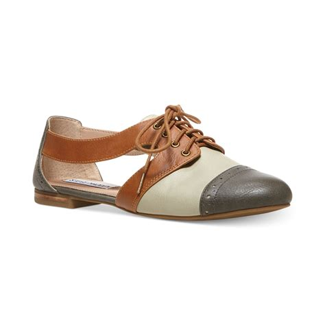 oxford shoes flats lyst steve madden cori cut out oxford flats
