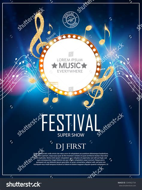 poster design notes music poster template circle banner notes stock vector