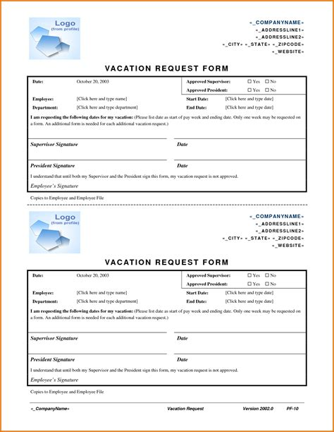 vacation request form templatereference letters words
