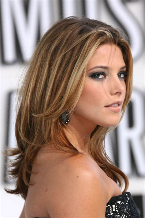 ashley greene medium length hairstyles 2014 straight hair dark brown hair bronze highlights ashley greene straight