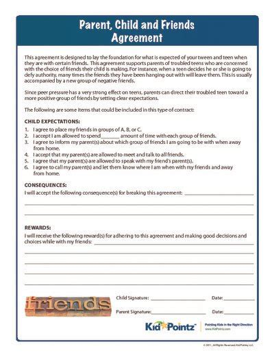 parent child behavior contract template parent child friends contrract parenting help kid pointz