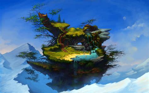 art fantasy mountain island flying swimming water