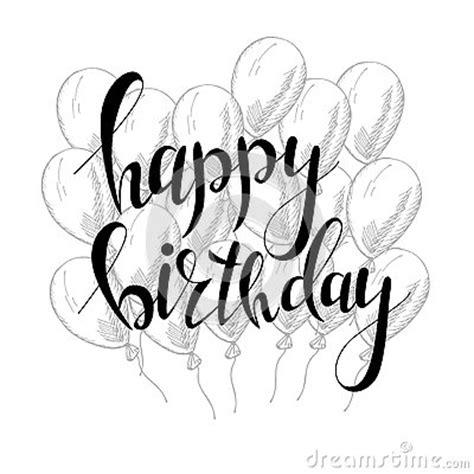 imagenes blanco y negro feliz cumpleaños letras de la mano del vector tarjeta de felicitaci 243 n del