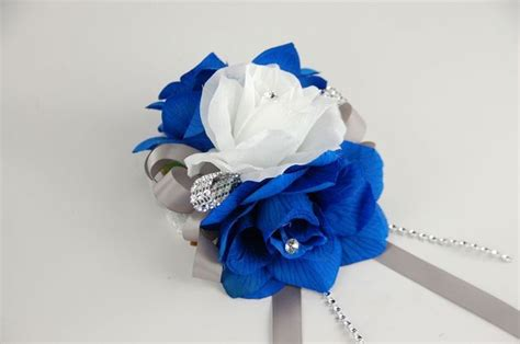 Corsage Blue Silver wrist corsage three corsage royal blue white and