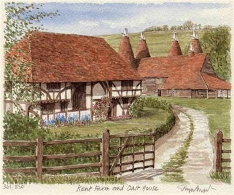 oast house kent cottage print by glyn martin at king