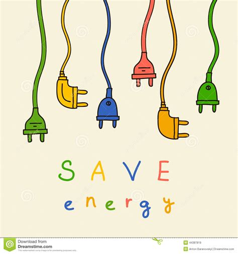how to create energy in doodle electric in color save energy stock illustration