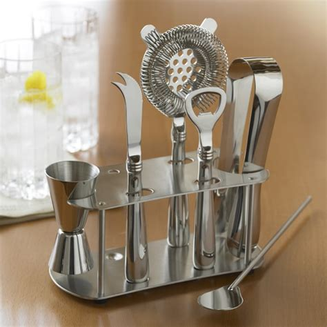 home bar design tool stainless steel bar tools set with stand williams sonoma