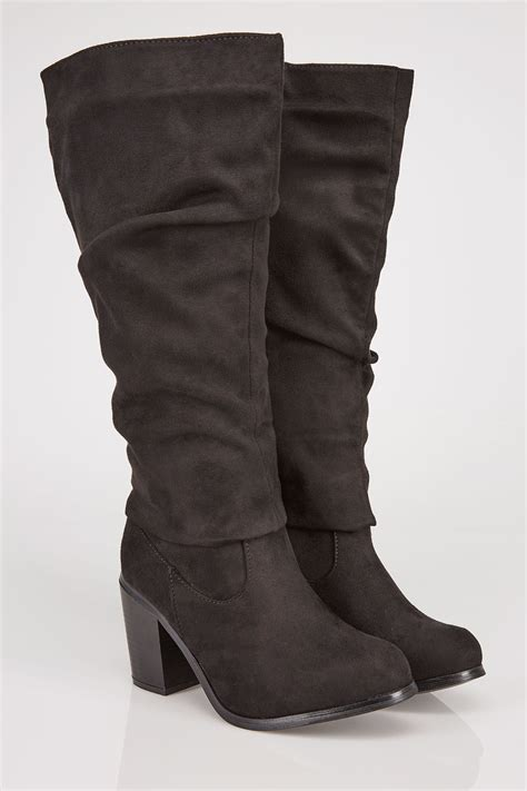 German Email Address Finder Black Ruched Knee High Suedette Heeled Boots Eee Fit Sizes 4eee 5eee 6eee 7eee 8eee
