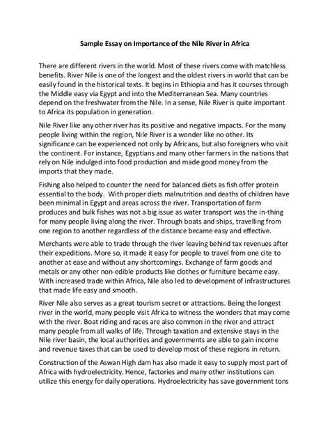 Two Ways Of Seeing A River Essay by Sle Essay On Importance Of The Nile River In Africa