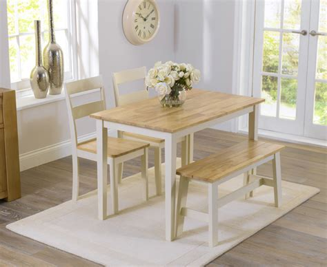 bench seat dining table set chiltern 115cm oak and cream dining table with bench and