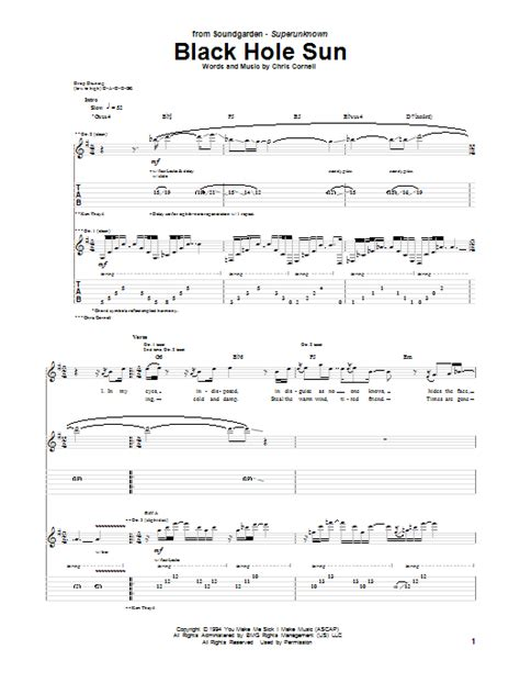 black hole sun chords black hole sun guitar tab by soundgarden guitar tab 67541