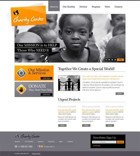 Charity Site Templates charity website template 28543