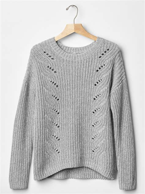 Sweater Gap Gap Cotton Marled Cable Braid Sweater In Gray Grey
