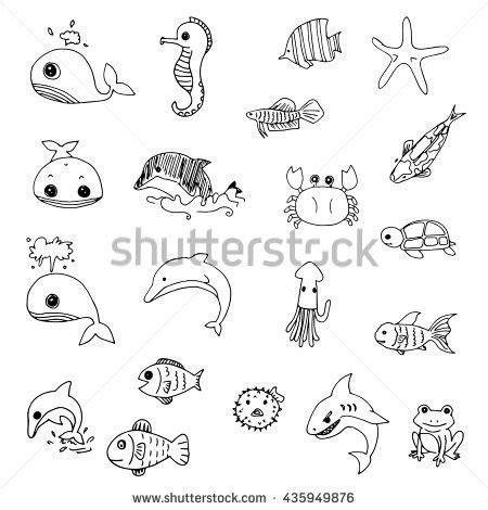 doodle animals vector free set aquatic animals drawing vector stock vektorgrafik