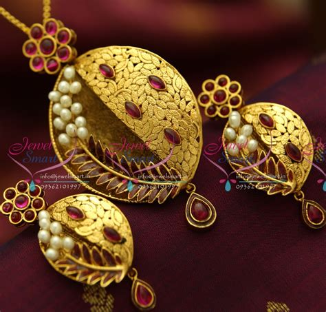 Handmade Gold Jewellery Designs - ps1822 exclusive antique ruby gold design handmade real
