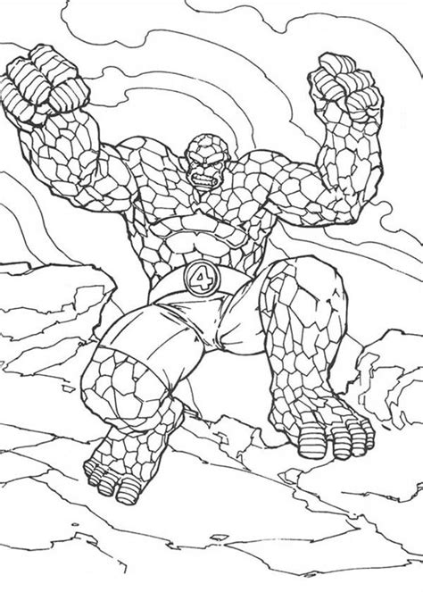 Thing Jump High In Fantastic Four Coloring Pages Bulk Color The Thing Coloring Pages